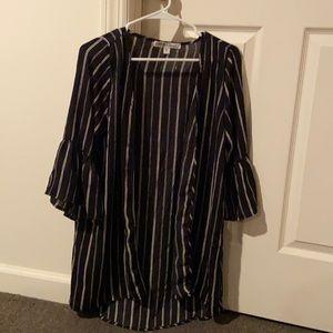 NWOT B&W Striped Kimono Cardigan